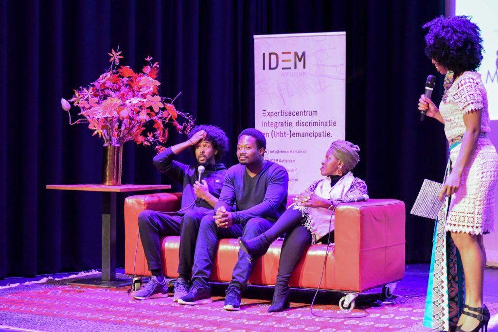 Malique Mohamud, Jerry Afriyie, Mpho Tutu van Furth en dagvoorzitter Minchenu Maduro | Foto: Wilke Martens